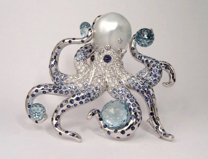 Octopus: Diamonds, sapphires, acquamarine and a large Baroque pearl set in white gold