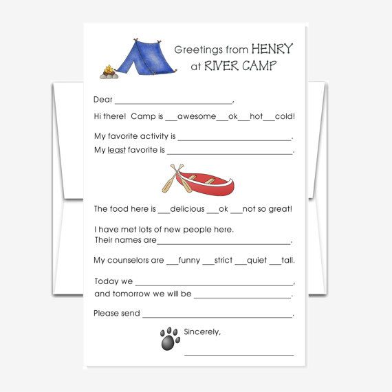 Personalized Stationery  Fill-in-the-Blank Camp Stationery