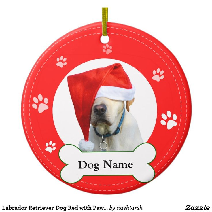 #Labrador #Retriever #Dog Red with #Paws and bone Ceramic #Ornament #Christmas