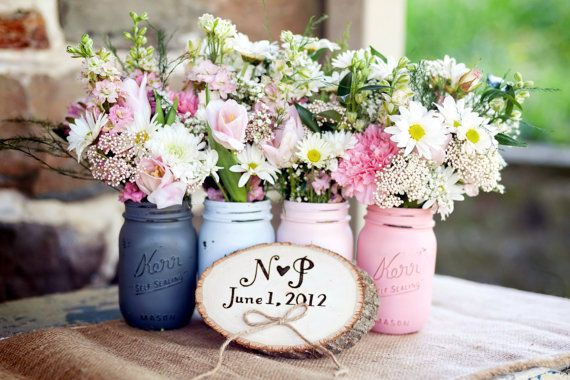 Preppy Pink  wedding Decor  Painted Mason by BeachBlues