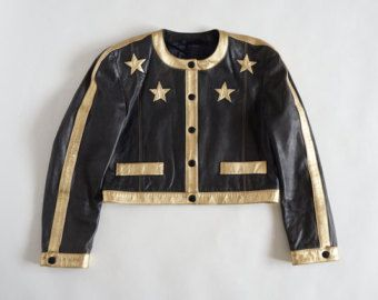 Escada by Margaretha Ley vintage iconic leather jacket with gold stars -    Edit Listing  - Etsy