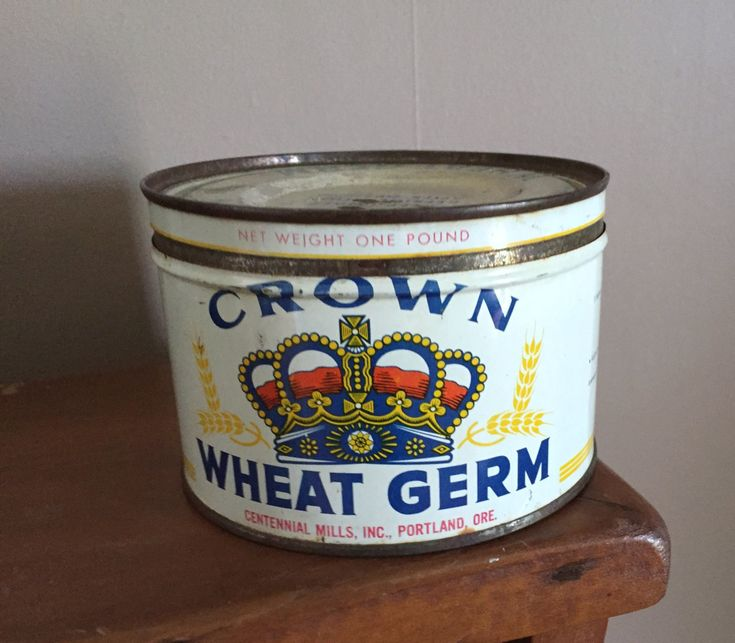 Oregon Crown Can, Vintage Advertising Food Tin with Lid, Wheat Germ metal can, Centennial Mills, Succulent Herb Planter Kitchen
