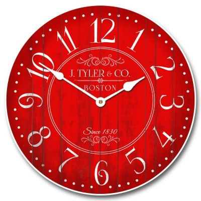 """Harbor Red Clock starts at $44 for our 12"""" size, and can be customized for only $10 more!  Ships free. #vintage #vintageclocks #largewallclocks #customclocks"""