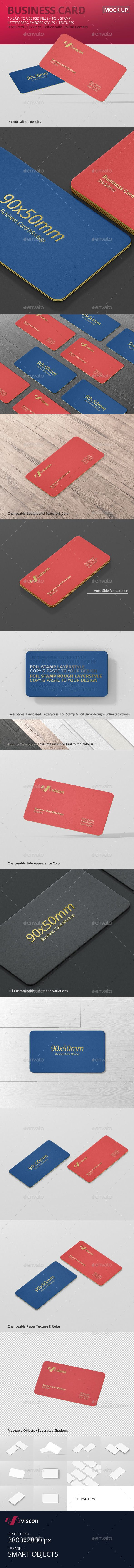 Business Card Mockup Round Corner — Photoshop PSD #foil #print • Available here → https://graphicriver.net/item/business-card-mockup-round-corner/15304262?ref=pxcr