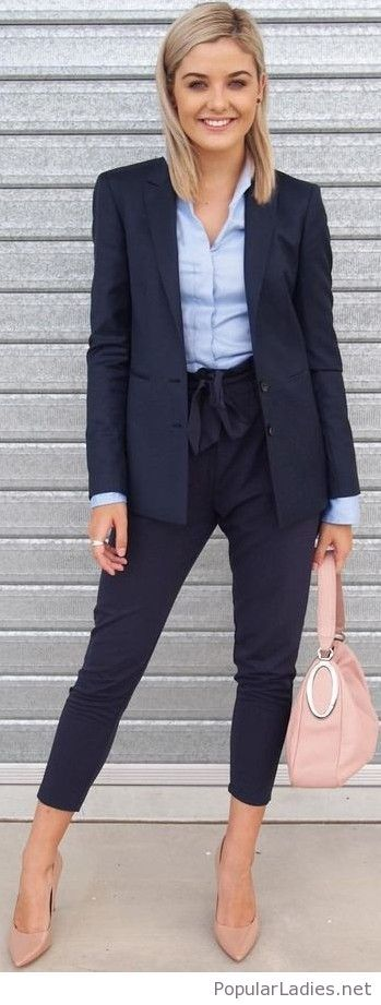Navy suit with nude accessories