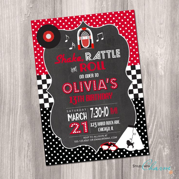 50s Birthday Invitation, Fifties Birthday Invitation, red black and white, Sock Hop Invitation, 50's Sock Hop Invitation, Printable by StyleswithCharm on Etsy https://www.etsy.com/listing/257930771/50s-birthday-invitation-fifties-birthday