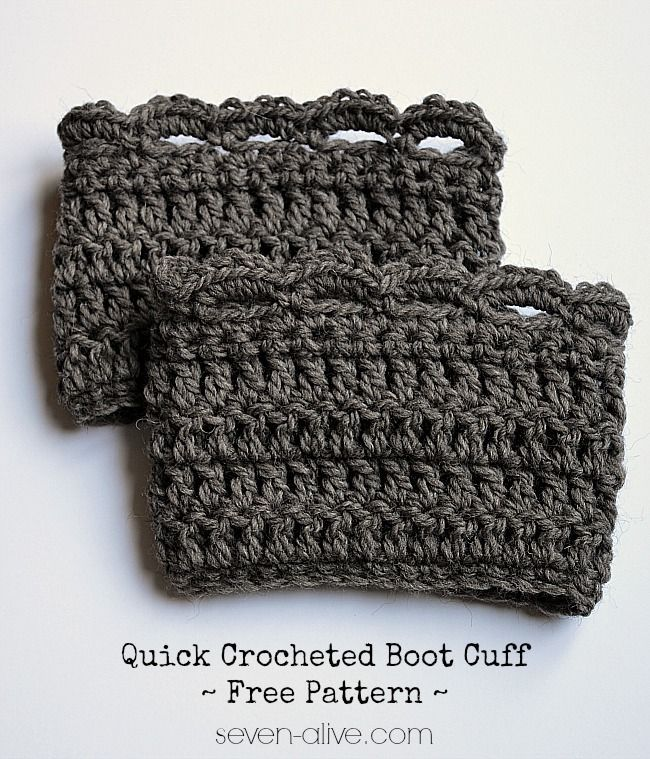 Quick Crocheted Boot Cuff ~ Free Pattern   Print Author: Kadie - seven-alive.com Recipe type: Crochet Pattern Ingredients Cascade Yarn Ecological Wool Size N (9 mm) Crochet Hook Tapestry Needle Scissors Abbreviations used: CH ~ Chain SLST~ Slip Stitch SC ~ Single Crochet DC ~ Double Crochet Instructions CH 31 ROW 1 ~SC in second …