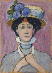 Selbstportrait mit Hut (Self-portrait with hat) by Gabriele Münter (1877-1962) - (christies)