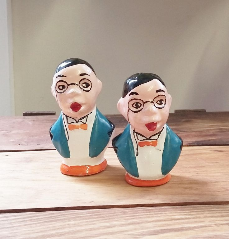 Vintage Salt & Pepper Shakers Charlie McCarthy Edgar Bergen Colorful Set 50's 60's Mid Century Kitsch Kitchen Collectible Ventriloquist by OffbeatAvenue on Etsy