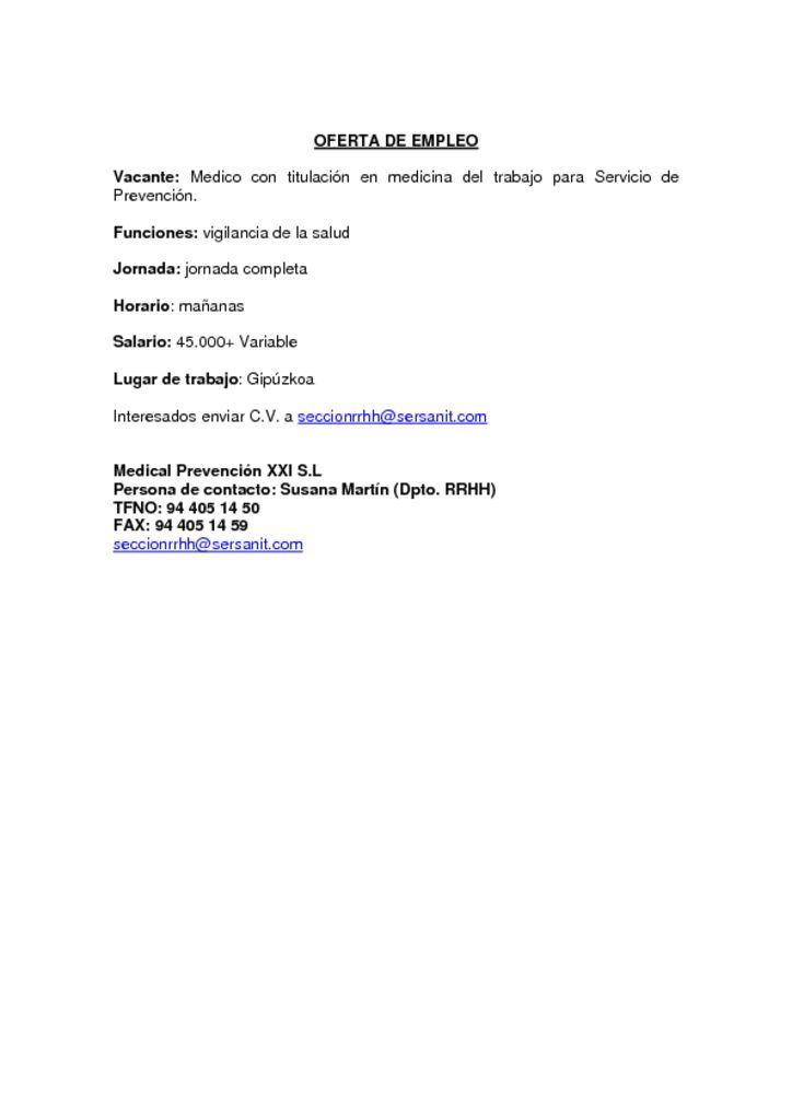 OFERTA DE EMPLEO – MEDICO DE EMPRESA ESPECIALIDAD EN MEDICINA DEL TRABAJO