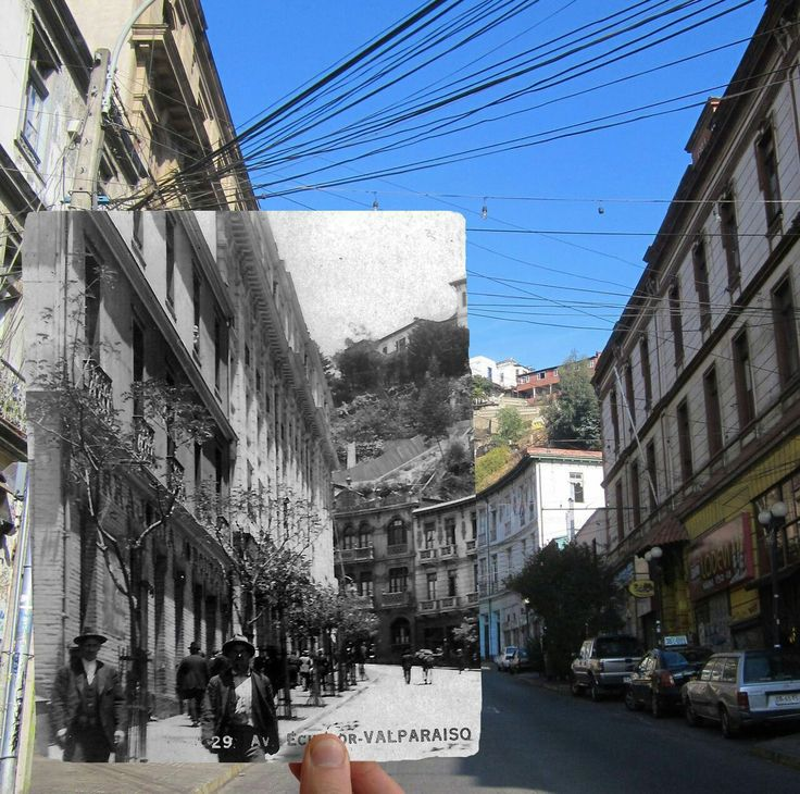 #ContrafotoEnterreno Subida Ecuador de Valparaíso en los años '30s. Foto antigua autor desconocido.