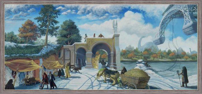 Oeuvre de Christophe Drobert - Bord des Eres - Huile sur bois 61x120. Encadrée avec le cadre couleur argent patiné référence AD02415020 disponible sur le site www.leboncadre.com