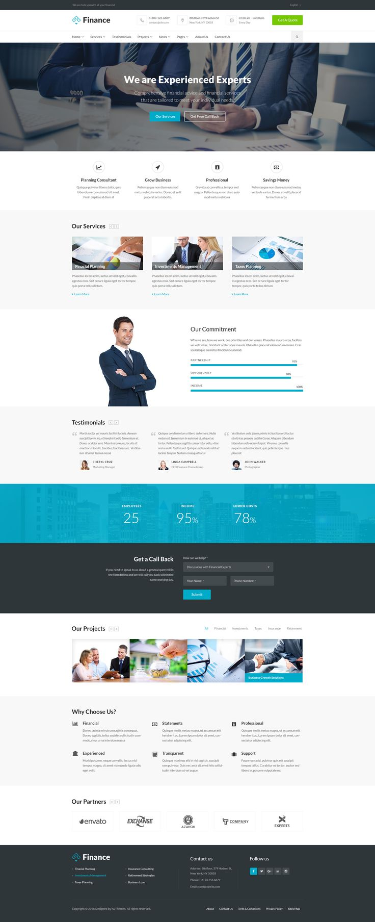 Finance is a clean PSD theme suitable for Business, Corporate, Finance Services, Online Banking, Insurance and Consulting services . You can customize it very easy to fit your needs.    1/ Features...