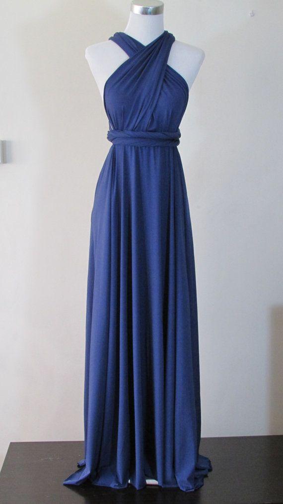 FREE BANDEAU Summer maxi dress Convertible Dress in Navy Blue Infinity Dress Multiway Dress Dark Blue Full length Wrap dress on Etsy, $44.83