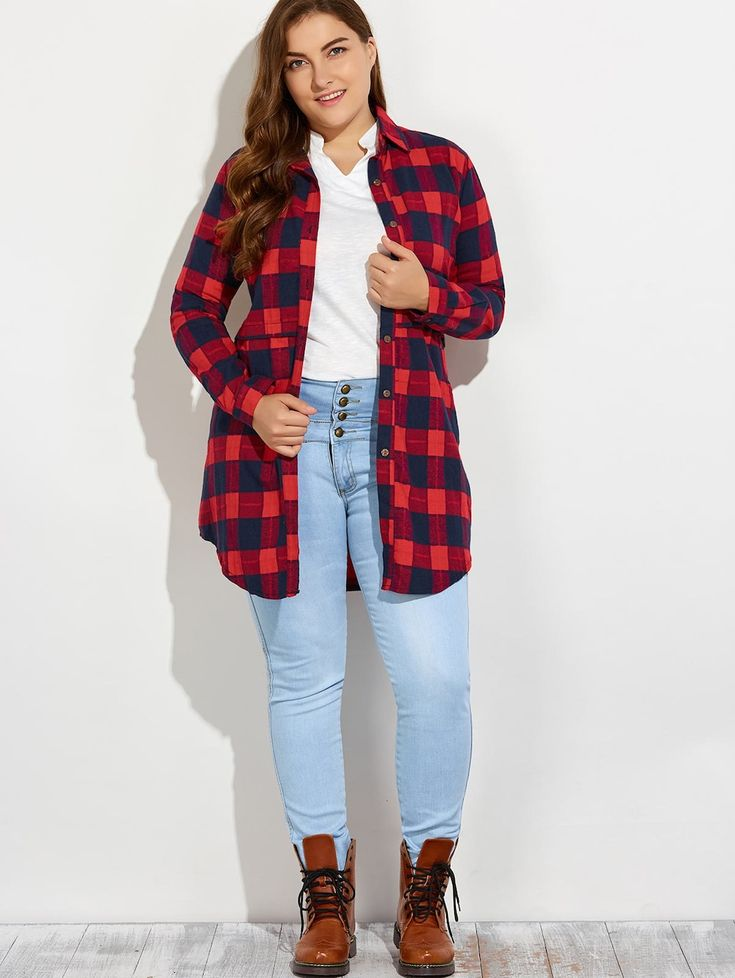 Plus Size Plaid Button Up Long Flannel Shirt - RED 4XL