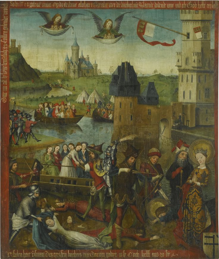 The Master of 1456 ACTIVE IN COLOGNE DURING THE 1450S THE MARTYRDOM OF SAINT URSULA AND THE ELEVEN THOUSAND VIRGINS OF COLOGNE oil on oak panel 127.5 by 108.5 cm.; 50 1/4  by 42 3/4  in.: