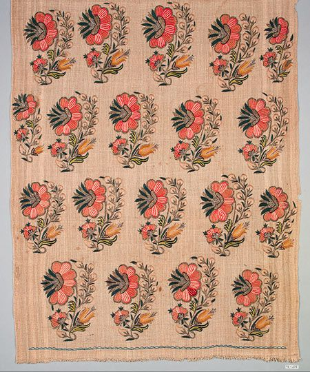 Embroidered length [Turkey] early 19th century - cotton with silk and silver metallic threads