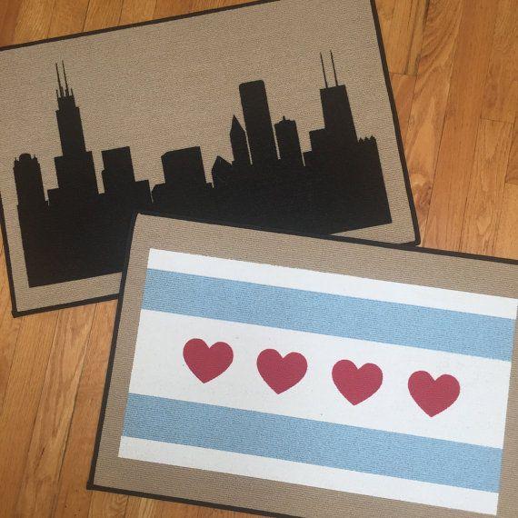Chicago Indoor / Outdoor Door mats Chicago Skyline Art or