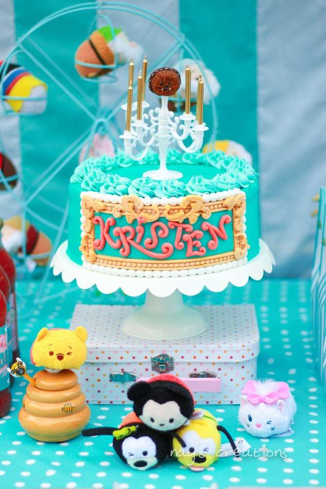 Cute cake at a Tsum Tsum Disney birthday party! See more party ideas at CatchMyParty.com!