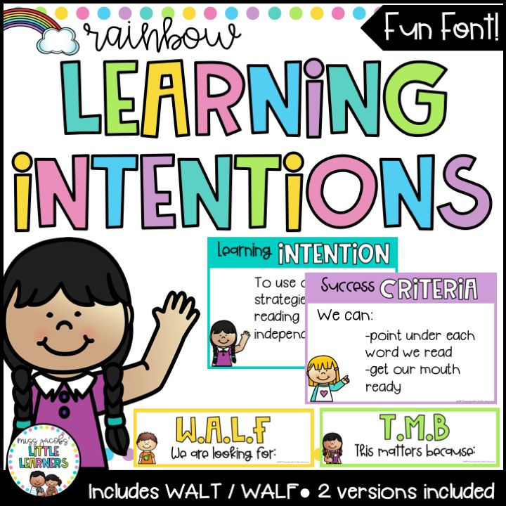 Learning Intentions Posters - WALT / WALF / WILF {Rainbow ...