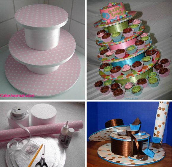 I am writing this post in response to a reader's question. Jessica B. wanted to know where to get this type of cupcake stand. I usually ask my cupcake baker to make it. This way, I am sure that the colors are coordinated with the cupcakes. But if you do it yourself, you could start from your party decor and provide a sample of your stand paper and ribbons to the cupcake baker. These are not hard to do if you have some crafting experience. Cakejournal published a step-by-step tutorial on how…