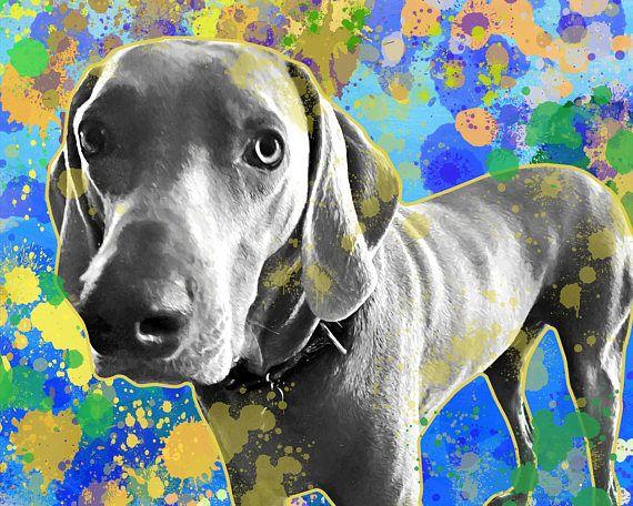 Dog portrait custom Pop art style dog portrait Quirky pet