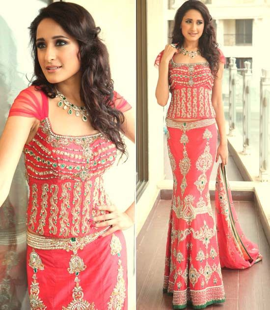 Red and gold Chinese brocade lehenga by Raakesh Agarwal