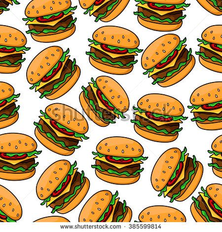 Fast food seamless pattern of appetizing cheeseburgers with grilled beef, cheddar cheese, fresh tomatoes and lettuce on sesame bun. For takeaway or fast food cafe design - stock vector