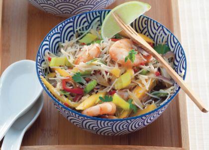 Recept voor Thaise mihoen met garnalen, groenten en mango