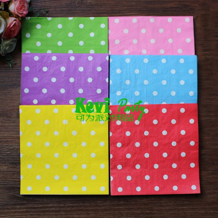 Versandkostenfrei 120pcs/lot 2- Schicht multicolor Tupfen hochzeits papierserviette Lieferungen/party supplies 100% zellstoff papierserviette