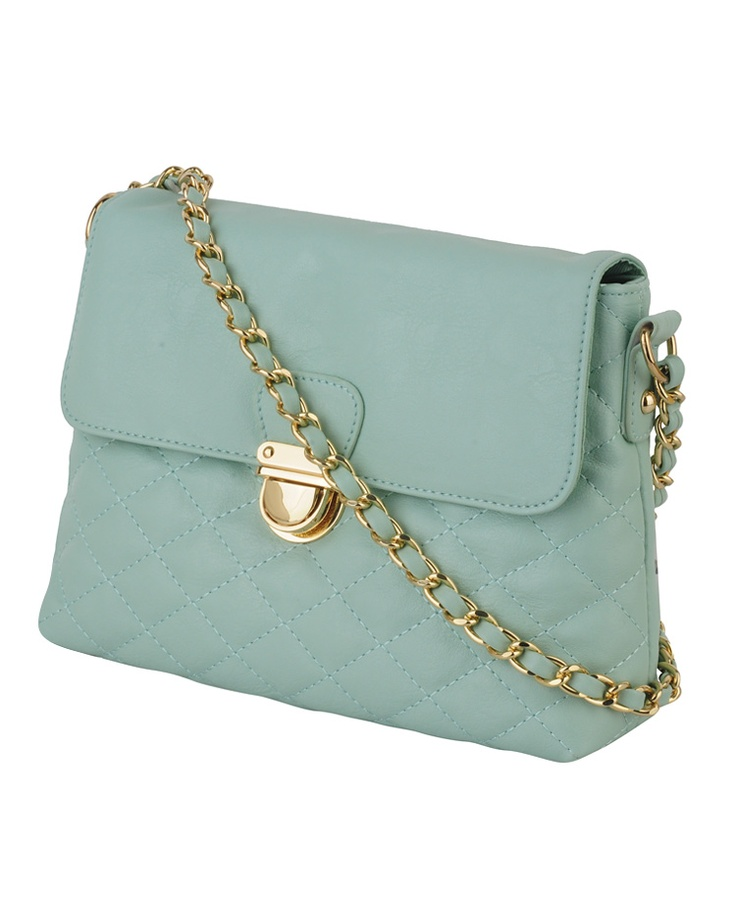 Mint Quilted Crossbody Bag