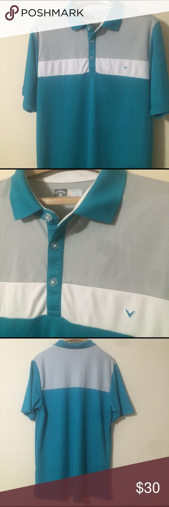 Callaway golf men's golf polo shirt. Very sharp! In excellent like new condition. Has teal blue base color with shades of white and gray. Opti-dry material. Size large. Callaway Shirts Polos