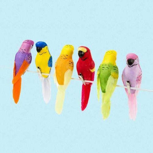 Sett med 6 vakre, fargerike tropiske fugler som kan festes hvor som helst.De har klype under og kan lett festes der man ønsker det.