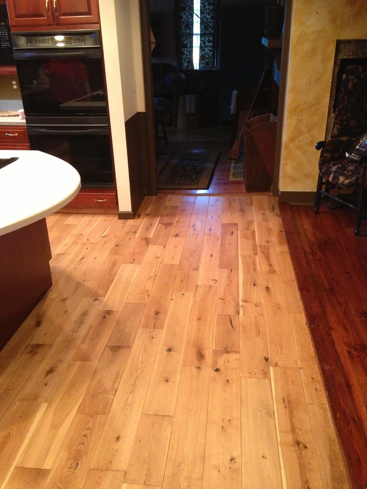 Solid Nature Americana Collection White Oak Distressed Hardwood In A  Kitchen Meeting Existing Hardwood Flooring