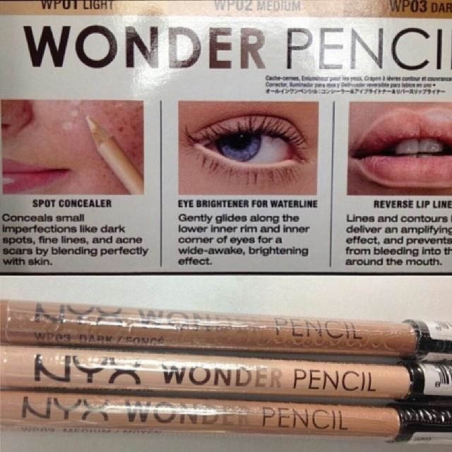 My new favorite makeup item!  If your not fond of the white liner this is perfect for you. I'm obsessed!  #NYX #wonderpencil 3 in 1 pencil. Concealer, eye brightening pencil and lip liner.