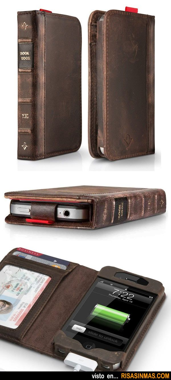 Funda - cartera libro antiguo para iPhone.