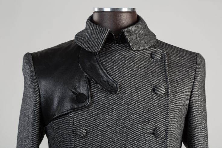 Double breasted cashmere, wool and leather pea coat. Focus here on a sheep leather gun flap. #bespokenov #menjacket #cashmere #leather