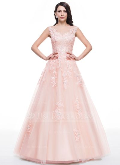 [US$ 187.49] Ball-Gown Scoop Neck Floor-Length Tulle Prom Dress With Beading Appliques Lace Sequins