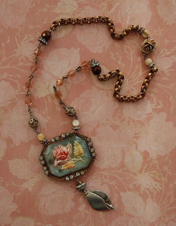 SALE Rose antique necklace by Opaline1214 on Etsy