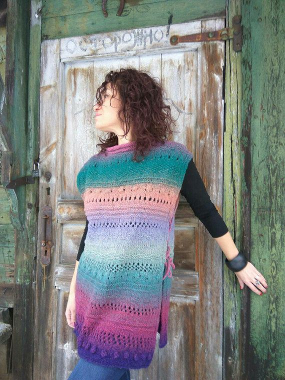 Handknit sweater vest handmade wool multicolor от JuliasFineKnits
