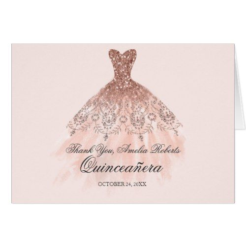 Rose Gold Sparkle Dress Quinceanera Thank You In 2019 Rose Gold