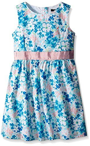 Nautica Girls Floral Print Dress with Grosgrain Belt Light Turquoise 2T -- You can find more details by visiting the image link.