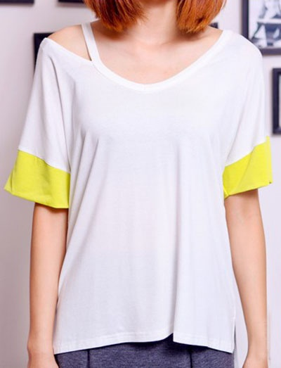 #SheInside White Yellow Batwing Cut Out Shoulder Short Sleeve T-Shirt