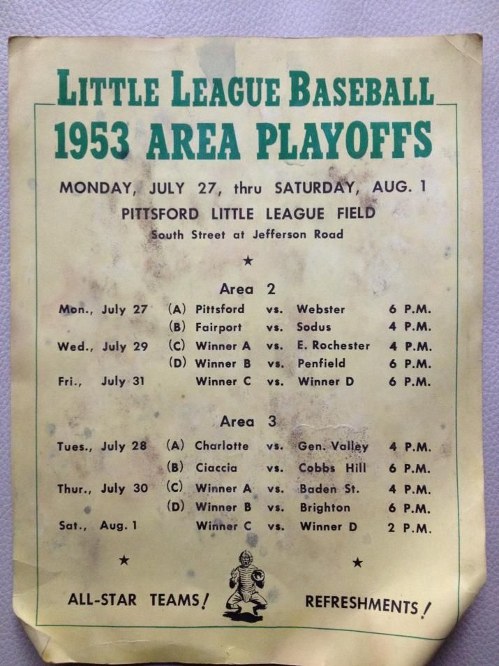 1953 area playoffs for Little League Baseball in Rochester NY