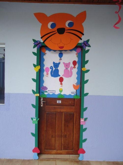 portas decoradas de sala de aula - Gato