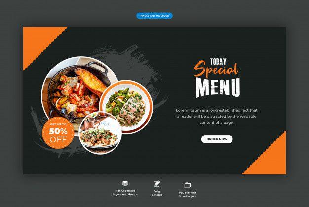 Food Menu And Restaurant Horizontal Web Banner Template In 2020 Food Menu Web Banner Menu Restaurant