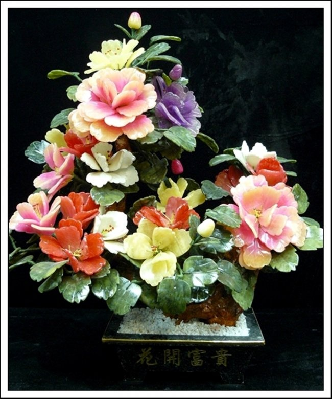 Real Jade Mixed Bonsai Flower Tree - This Beautiful Jade Flower Tree Is Made From Multi-Color Jades, Such As Natural Yellow Jade, Taiwan Jade And Southern Jade And Lavender Jade. The Tree Is Planted On A Taiwan Jade Pot