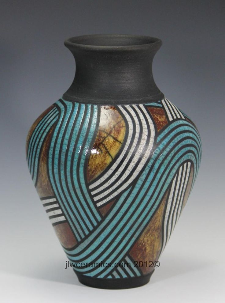 Divided Light Raku Vase by JLW Ceramics www.jlwceramics.com