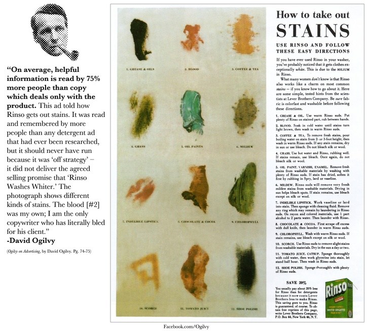 """How to take out STAINS""- Classic Ad by David Ogilvy... #Strategy #ClientsComeFirst: Print Ads, Classic Ogilvy, Traditional Infographic, Copywriter Stuff, Ogilvy Ads A, Advertising Wisdom, Ads A Traditional, Compelling Advertising"