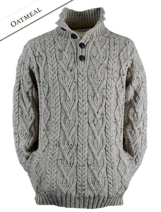 Buttoned Merino Wool Sweater - Army Green